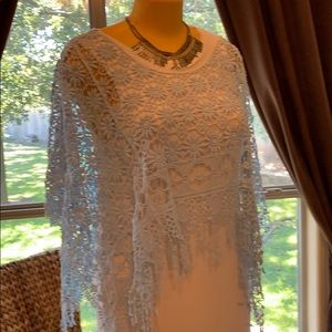 Baby blue lace poncho